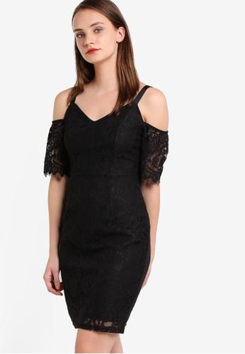 Dorothy Perkins black Petite Black Cold Shouler Pencil Dress DO816AA13GXMMY_1