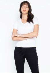 DEBENHAMS white Red Herring - Rh V Neck T-shirt F0F25AA5697CBDGS_1