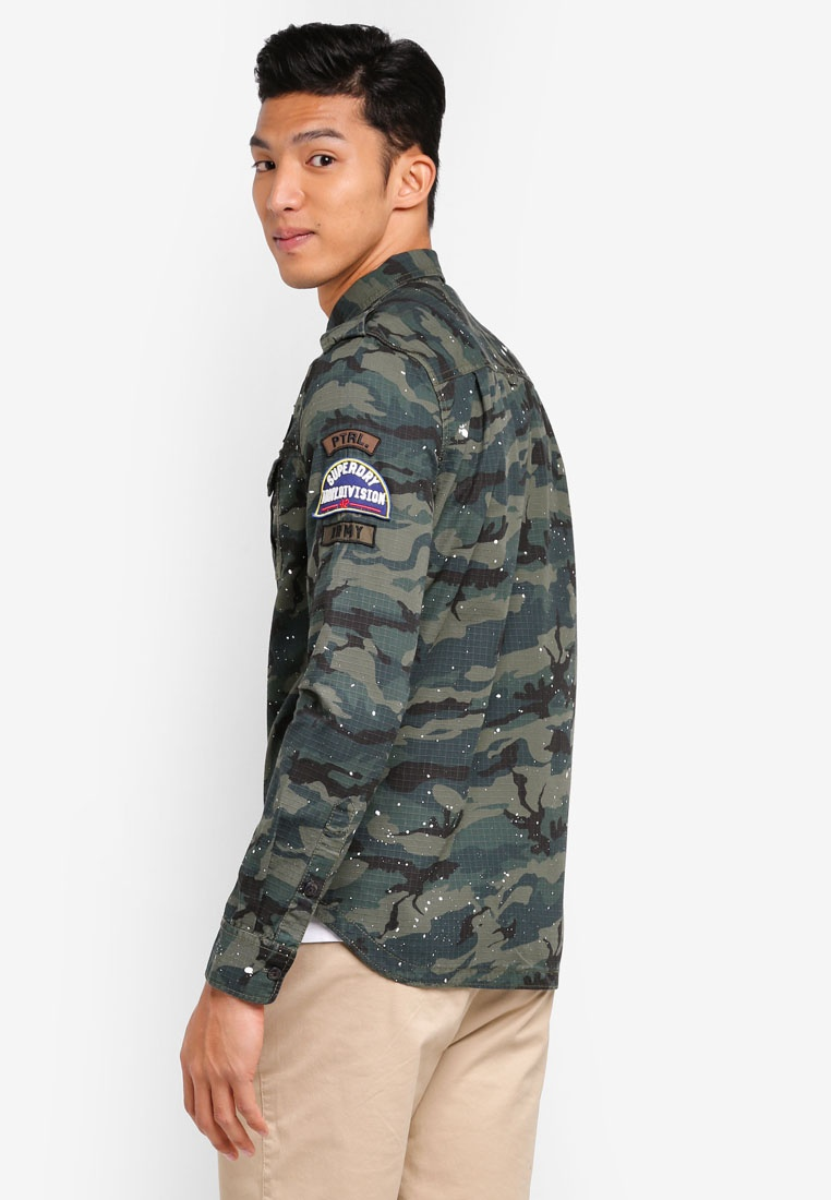 Khaki Camo Superdry Tropics Shirt Army Sierra Long Sleeve WcYHqYCAw
