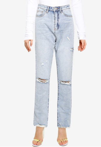 MISSGUIDED blue Slim Straight High Waisted Thigh Slash Jeans FE176AA6D4D48AGS_1