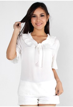 Loose Round Neck Ribbon Bow Chiffon Top