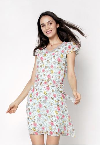 nicole green V-Neckline Cap Sleeve Floral Printed Dress 74809AA72761E8GS_1