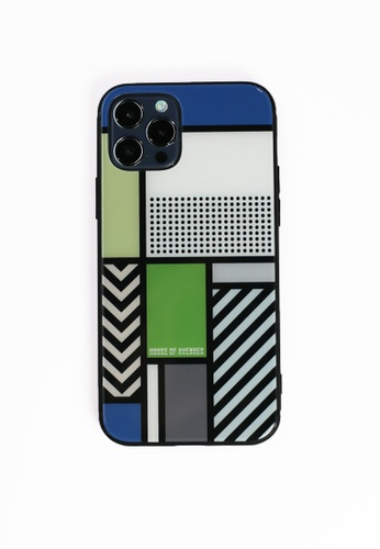 House of Avenues multi Color Block Memphis Pattern Tempered Glass Shell Phone Case For iPhone 12 02072ACD305695GS_1