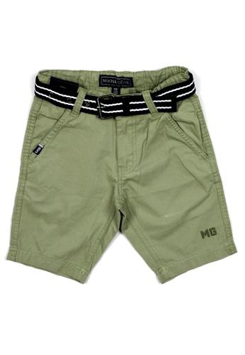 Moose Gear green Plain Twill Shorts For Boys With Belt 8E3A2KA689EFDBGS_1