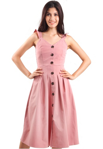 Kitschen pink Ruffle Strap Midi Dress with Buttons EFFF1AA3A1193AGS_1