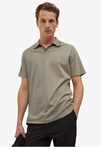 MANGO Man grey Technical Cotton Polo Shirt C102AAA9EC2B5EGS_1