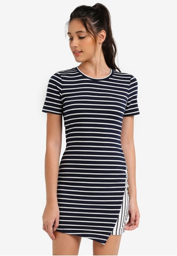 Something Borrowed navy Asymmetric Knit Bodycon Dress 2D750AA922E791GS_1