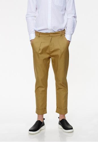 Life8 brown Cotton Wide Leg Trouser With Pleats-02434-Khaki LI283AA0FT4KSG_1
