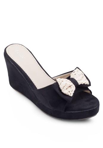 蕾絲蝴蝶結露趾楔型跟涼鞋, 女鞋esprit tote bag, 楔形涼鞋