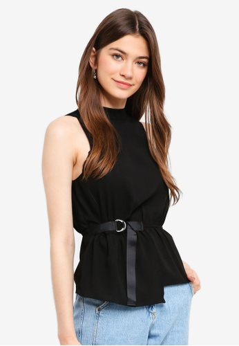 Something Borrowed black Strap Detailed High Neck Top 6D12EAAC43161EGS_1