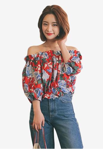 韓時尚彈性荷葉esprit官網露肩領印花上衣, 服飾, 印花時代