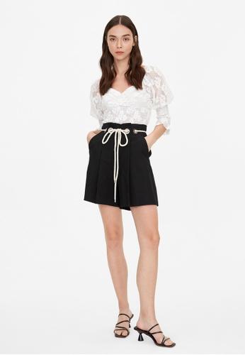 Pomelo black Linen Rope Tie Waist Shorts - Black 58BFEAA7DA9B95GS_1