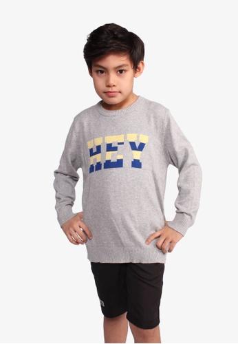 SODA grey ''Hey'' Long Sleeve Sweater 5E402KA4E283F6GS_1
