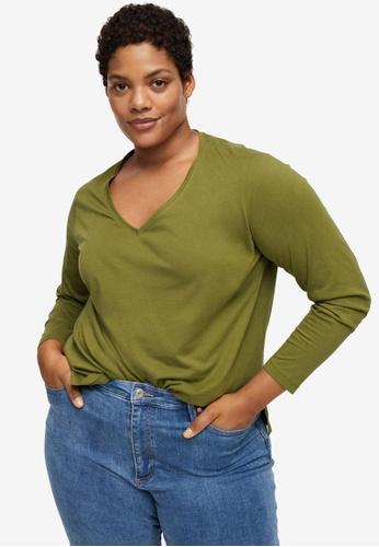 Violeta by MANGO beige Plus Size Long Sleeve Cotton T-Shirt A5499AA3504EC1GS_1