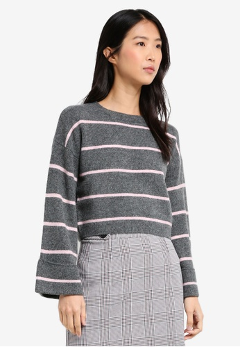 TOPSHOP grey Petite Striped Mohair Jumper B3769AA09D8DBAGS_1