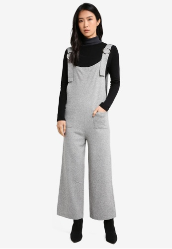 LOST INK grey Buckle Detail Knitted Jumpsuit LO238AA0T1S9MY_1