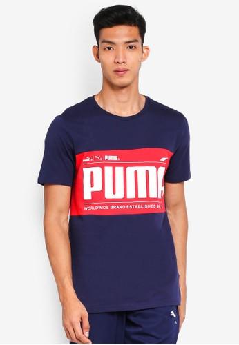 Puma blue Sportstyle Prime Graphic Logo Block Tee A0E62AA8F6CF90GS_1
