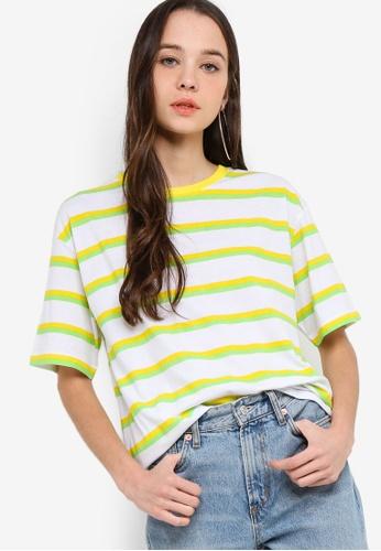 Something Borrowed 黃色 and 綠色 條紋Boyfriend T恤 7F905AA845E2E9GS_1