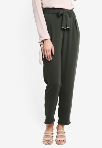 Dorothy Perkins green Metal Hardware Belted Joggers E5D40AAC3CE856GS_1