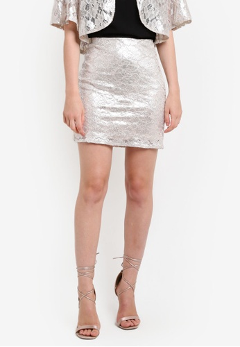 Miss Selfridge silver Metallic Lace Aline Skirt MI665AA96DDZMY_1