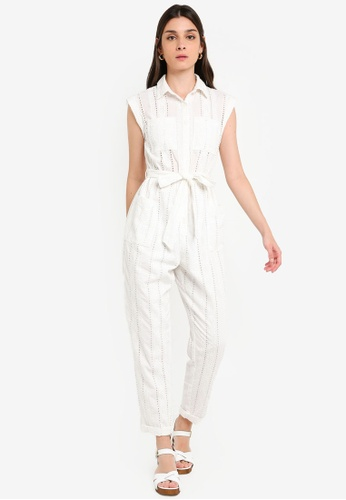 Miss Selfridge UTILITY PLAYSUIT Jumpsuit cream