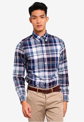 Brooks Brothers navy Red Fleece Madras Shirt 8B894AA44D72AFGS_1