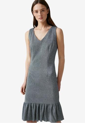 KOTON grey Lurex Ruffle Dress F5148AA7018F84GS_1