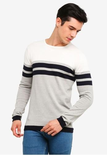 !Solid grey Stellan Striped Knit Sweater 8BFBFAA16188B7GS_1