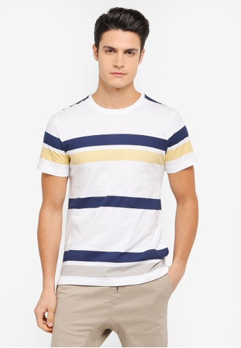 ZALORA yellow and blue and multi Printed Stripes Tee 88511AA0169372GS_1
