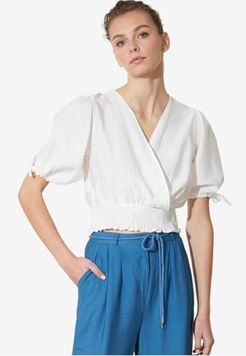 Trendyol white Shirred Waist Wrap Crop Top BCDA4AAA5991EFGS_1