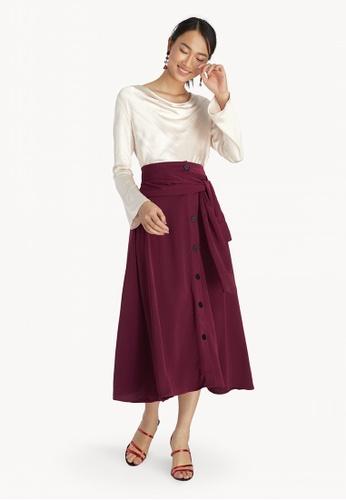 76e172cec Buy Pomelo Tie Front Button Down Skirt - Red Online | ZALORA Malaysia