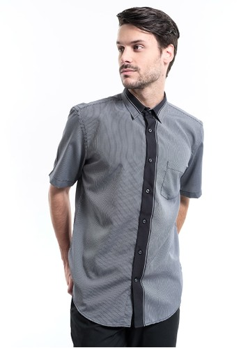 MANLY black Manly Tionic Black Regular Fit Polynosic Short Sleeve Shirt 6D9D3AA558AD01GS_1