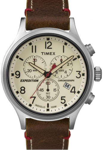 TIMEX brown Timex Expedition® Scout - Chrono with Silver-Tone Case and Leather Strap TI857AC25NSSSG_1
