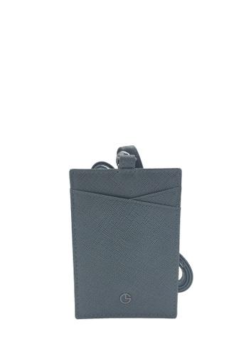 Goldlion grey Goldlion Saffiano Leather Lanyard with Cardholder- Grey 12989AC429A83AGS_1