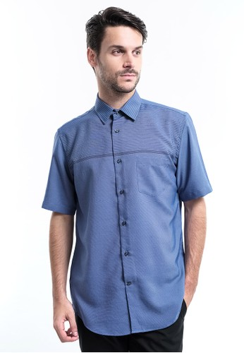 MANLY blue Manly Kemeja Regular Fit Striped Murdock Blue 3A42DAAB4E1763GS_1