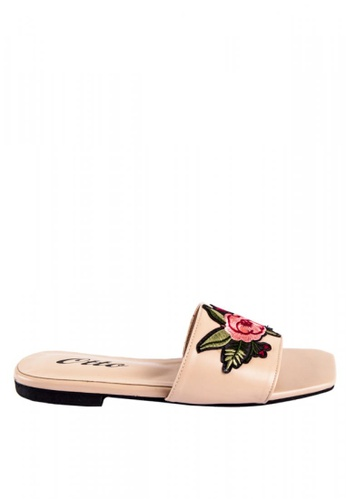 Otto beige Floral Patch Slide Sandals B1E49SHBCDA037GS_1