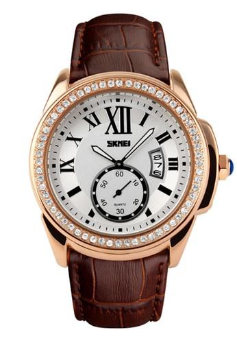 Digitec brown Skmei - Jam Tangan Wanita - Rosegold - Brown Leather Strap - 1147-D 78C0CAC2154198GS_1