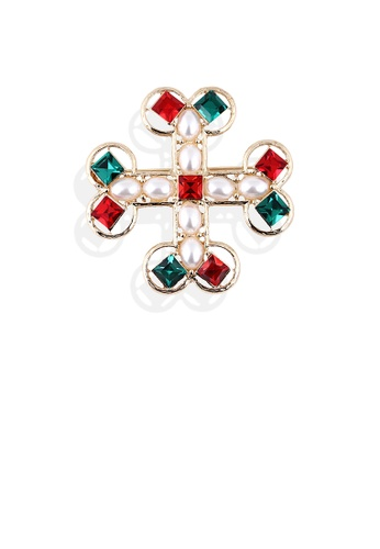 Glamorousky white Fashion and Elegant Plated Gold Cross Imitation Pearl Brooch with Cubic Zirconia 1E8D7AC08C312BGS_1