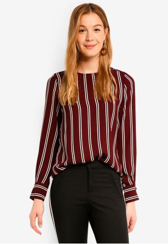 Vero Moda red Gabby Long Sleeve Stripe Top 080C2AA92B3E53GS_1