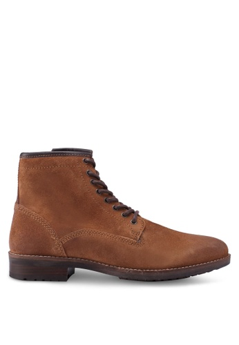Burton Menswear London brown Tan Suede Lace Up Boots With Cleated Sole FB13FSH1BE69F0GS_1
