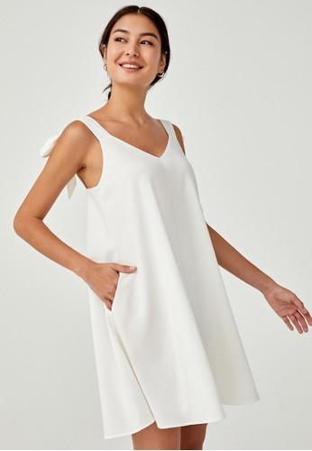 Love, Bonito white Basia Tie Shoulder Dress 28FEBAA8F04D80GS_1