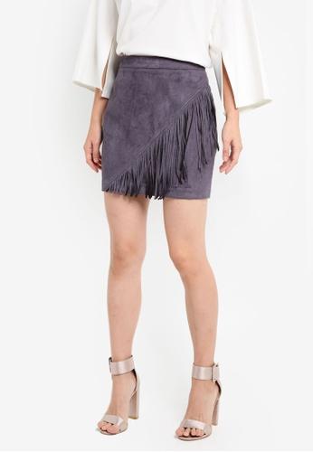 ZALORA grey Studio Fringe Mini Skirt D4A6CAAC4BC4ABGS_1