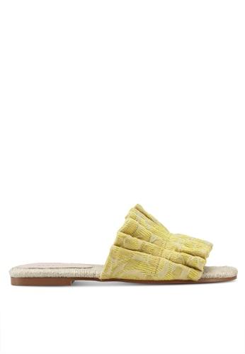Mango 黃色 提花荷葉拖鞋 66D0DSH883FD3BGS_1