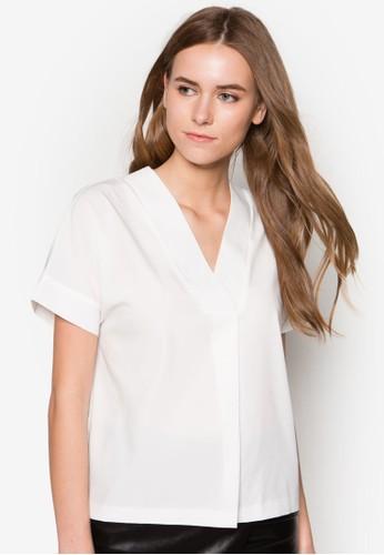 簡約V領上衣, 服飾,zalora時尚購物網評價 上衣