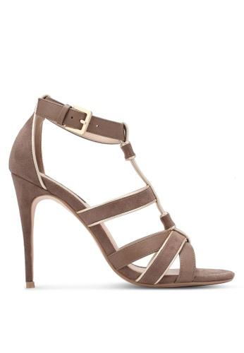 ZALORA 褐色 Strappy Bind High Heels E2EC6SHA42CDB8GS_1