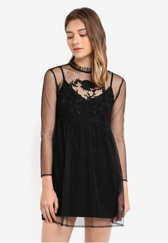 Something Borrowed black Sheer Embroidered Dress BAC9EAADE612A8GS_1