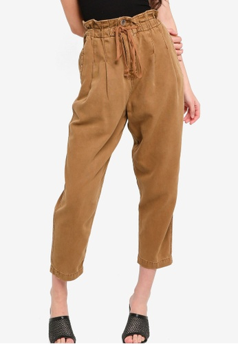 Free People brown Margate Pleated Paperbag Trousers 19900AA5021773GS_1