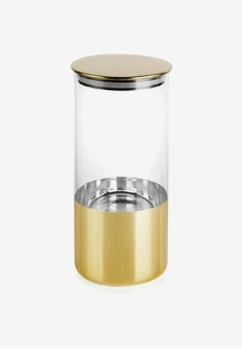 Propstation gold Gold Plated Airtight Moisture Proof Glass Canister Jar - Large C07A4HLA4B2C97GS_1