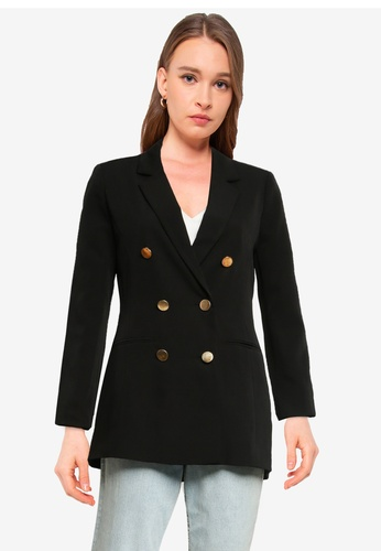 Miss Selfridge black Black Textured Blazer ADEDBAAA8D34FFGS_1