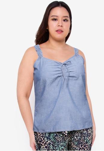 Vero Moda blue Plus Size Akela Chambray Top 1951FAA26CEEECGS_1